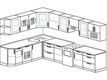 Угловая кухня 9,3 м² (2,1✕3,1 м), верхние модули 72 см, посудомоечная машина, модуль под свч, отдельно стоящая плита