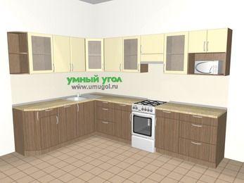 Угловая кухня МДФ матовый 9,3 м², 2100 на 3100 мм (зеркальный проект), Ваниль / Лиственница бронзовая, верхние модули 720 мм, посудомоечная машина, модуль под свч, отдельно стоящая плита