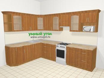 Угловая кухня МДФ матовый в классическом стиле 9,3 м², 210 на 310 см (зеркальный проект), Вишня, верхние модули 72 см, посудомоечная машина, модуль под свч, отдельно стоящая плита