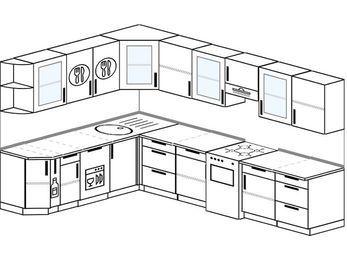 Угловая кухня 9,3 м² (2,1✕3,1 м), верхние модули 72 см, посудомоечная машина, отдельно стоящая плита