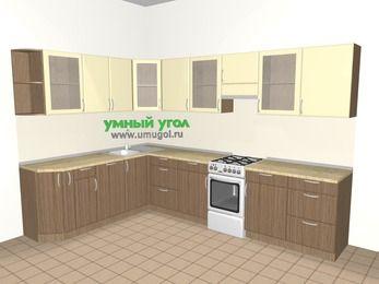 Угловая кухня МДФ матовый 9,3 м², 2100 на 3100 мм (зеркальный проект), Ваниль / Лиственница бронзовая, верхние модули 720 мм, посудомоечная машина, отдельно стоящая плита