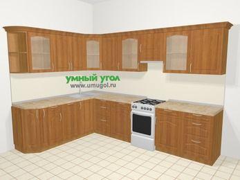Угловая кухня МДФ матовый в классическом стиле 9,3 м², 210 на 310 см (зеркальный проект), Вишня, верхние модули 72 см, посудомоечная машина, отдельно стоящая плита
