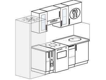 Планировка прямой кухни 5,0 м², 220 см: верхние модули 72 см, холодильник, корзина-бутылочница, отдельно стоящая плита