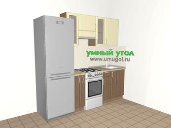 Прямая кухня МДФ матовый 5,0 м², 2200 мм, Ваниль / Лиственница бронзовая, верхние модули 720 мм, холодильник, отдельно стоящая плита