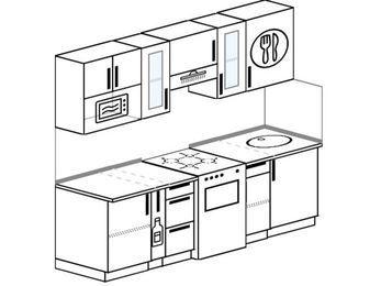 Планировка прямой кухни 5,0 м², 2200 мм: верхние модули 720 мм, корзина-бутылочница, отдельно стоящая плита, модуль под свч