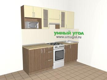 Прямая кухня МДФ матовый 5,0 м², 2200 мм, Ваниль / Лиственница бронзовая, верхние модули 720 мм, модуль под свч, отдельно стоящая плита