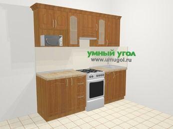 Прямая кухня МДФ матовый в классическом стиле 5,0 м², 2200 мм, Вишня, верхние модули 720 мм, модуль под свч, отдельно стоящая плита