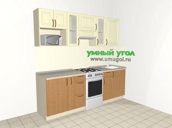 Прямая кухня из МДФ + ЛДСП 5,0 м², 2200 мм, Ваниль / Ольха, верхние модули 720 мм, модуль под свч, отдельно стоящая плита