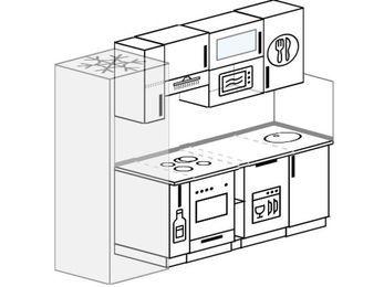 Прямая кухня 5,0 м² (2,2 м), верхние модули 720 мм, посудомоечная машина, верхний витринный модуль под свч, встроенный духовой шкаф, холодильник