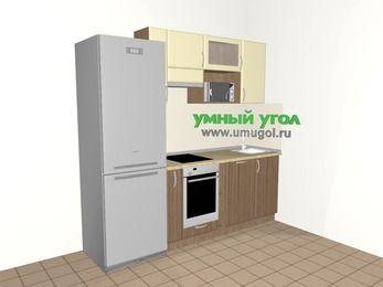 Прямая кухня МДФ матовый 5,0 м², 2200 мм, Ваниль / Лиственница бронзовая, верхние модули 720 мм, посудомоечная машина, верхний витринный модуль под свч, встроенный духовой шкаф, холодильник