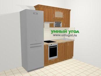 Прямая кухня МДФ матовый в классическом стиле 5,0 м², 220 см, Вишня, верхние модули 72 см, посудомоечная машина, верхний модуль под свч, встроенный духовой шкаф, холодильник