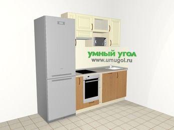 Прямая кухня из МДФ + ЛДСП 5,0 м², 2200 мм, Ваниль / Ольха, верхние модули 720 мм, посудомоечная машина, верхний витринный модуль под свч, встроенный духовой шкаф, холодильник
