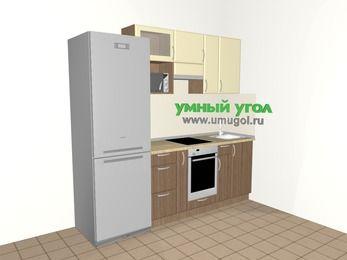 Прямая кухня МДФ матовый 5,0 м², 2200 мм, Ваниль / Лиственница бронзовая, верхние модули 720 мм, верхний витринный модуль под свч, встроенный духовой шкаф, холодильник