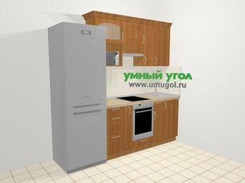 Прямая кухня МДФ матовый в классическом стиле 5,0 м², 2200 мм, Вишня, верхние модули 720 мм, верхний модуль под свч, встроенный духовой шкаф, холодильник
