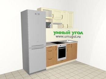 Прямая кухня из МДФ + ЛДСП 5,0 м², 2200 мм, Ваниль / Ольха, верхние модули 720 мм, верхний витринный модуль под свч, встроенный духовой шкаф, холодильник