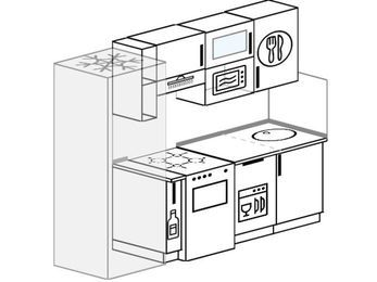 Прямая кухня 5,0 м² (2,2 м), верхние модули 720 мм, посудомоечная машина, верхний витринный модуль под свч, холодильник, отдельно стоящая плита