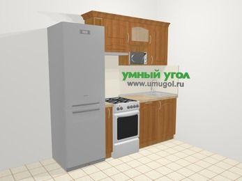 Прямая кухня МДФ матовый в классическом стиле 5,0 м², 220 см, Вишня, верхние модули 72 см, посудомоечная машина, верхний модуль под свч, холодильник, отдельно стоящая плита