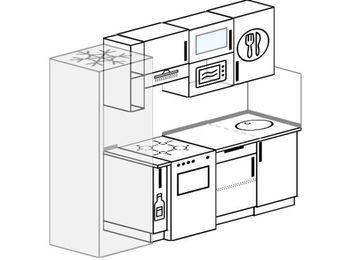 Прямая кухня 5,0 м² (2,2 м), верхние модули 720 мм, верхний модуль под свч, холодильник, отдельно стоящая плита