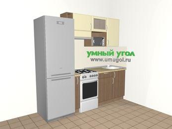 Прямая кухня МДФ матовый 5,0 м², 2200 мм, Ваниль / Лиственница бронзовая, верхние модули 720 мм, верхний витринный модуль под свч, холодильник, отдельно стоящая плита