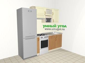 Прямая кухня из МДФ + ЛДСП 5,0 м², 2200 мм, Ваниль / Ольха, верхние модули 720 мм, верхний витринный модуль под свч, холодильник, отдельно стоящая плита