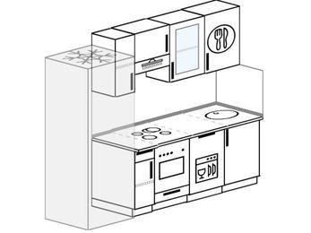 Планировка прямой кухни 5,0 м², 2200 мм: верхние модули 720 мм, холодильник, встроенный духовой шкаф, посудомоечная машина