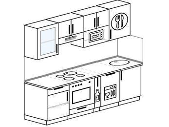 Прямая кухня 5,0 м² (2,2 м), верхние модули 720 мм, посудомоечная машина, модуль под свч, встроенный духовой шкаф