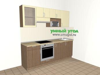 Прямая кухня МДФ матовый 5,0 м², 2200 мм, Ваниль / Лиственница бронзовая, верхние модули 720 мм, посудомоечная машина, модуль под свч, встроенный духовой шкаф