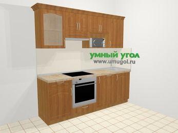Прямая кухня МДФ матовый в классическом стиле 5,0 м², 2200 мм, Вишня, верхние модули 720 мм, посудомоечная машина, модуль под свч, встроенный духовой шкаф