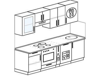 Планировка прямой кухни 5,0 м², 220 см: верхние модули 72 см, встроенный духовой шкаф, корзина-бутылочница, посудомоечная машина