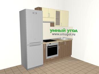 Прямая кухня МДФ матовый 5,0 м², 2200 мм, Ваниль / Лиственница бронзовая, верхние модули 720 мм, встроенный духовой шкаф, холодильник