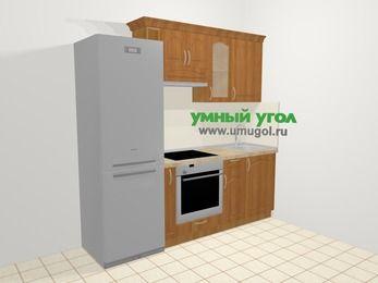 Прямая кухня МДФ матовый в классическом стиле 5,0 м², 220 см, Вишня, верхние модули 72 см, встроенный духовой шкаф, холодильник