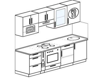 Планировка прямой кухни 5,0 м², 220 см: верхние модули 72 см, корзина-бутылочница, встроенный духовой шкаф, модуль под свч