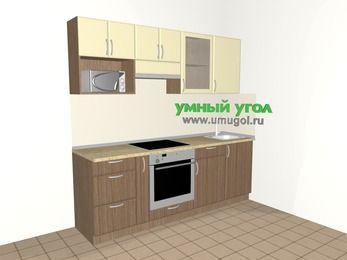 Прямая кухня МДФ матовый 5,0 м², 2200 мм, Ваниль / Лиственница бронзовая, верхние модули 720 мм, модуль под свч, встроенный духовой шкаф