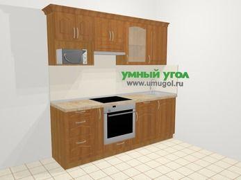 Прямая кухня МДФ матовый в классическом стиле 5,0 м², 2200 мм, Вишня, верхние модули 720 мм, модуль под свч, встроенный духовой шкаф
