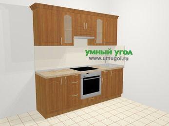 Прямая кухня МДФ матовый в классическом стиле 5,0 м², 2200 мм, Вишня, верхние модули 720 мм, встроенный духовой шкаф
