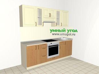 Прямая кухня из МДФ + ЛДСП 5,0 м², 2200 мм, Ваниль / Ольха, верхние модули 720 мм, встроенный духовой шкаф
