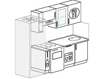 Прямая кухня 5,0 м² (2,2 м), верхние модули 720 мм, посудомоечная машина, холодильник, отдельно стоящая плита