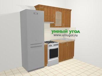 Прямая кухня МДФ матовый в классическом стиле 5,0 м², 220 см, Вишня, верхние модули 72 см, посудомоечная машина, холодильник, отдельно стоящая плита