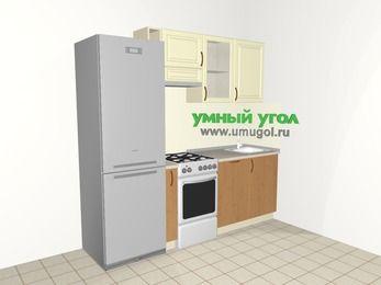 Прямая кухня из МДФ + ЛДСП 5,0 м², 2200 мм, Ваниль / Ольха, верхние модули 720 мм, посудомоечная машина, холодильник, отдельно стоящая плита