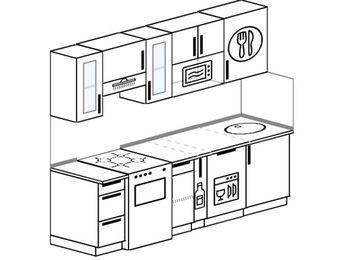 Прямая кухня 5,0 м² (2,2 м), верхние модули 720 мм, посудомоечная машина, модуль под свч, отдельно стоящая плита