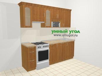 Прямая кухня МДФ матовый в классическом стиле 5,0 м², 2200 мм, Вишня, верхние модули 720 мм, посудомоечная машина, модуль под свч, отдельно стоящая плита