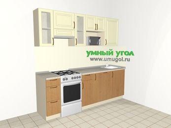 Прямая кухня из МДФ + ЛДСП 5,0 м², 2200 мм, Ваниль / Ольха, верхние модули 720 мм, посудомоечная машина, модуль под свч, отдельно стоящая плита