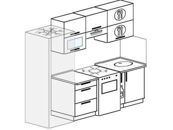 Планировка прямой кухни 5,0 м², 220 см: верхние модули 72 см, холодильник, отдельно стоящая плита, корзина-бутылочница