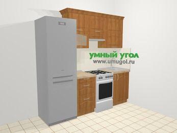 Прямая кухня МДФ матовый в классическом стиле 5,0 м², 220 см, Вишня, верхние модули 72 см, холодильник, отдельно стоящая плита
