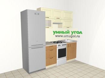 Прямая кухня из МДФ + ЛДСП 5,0 м², 2200 мм, Ваниль / Ольха, верхние модули 720 мм, холодильник, отдельно стоящая плита