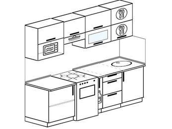 Планировка прямой кухни 5,0 м², 2200 мм: верхние модули 720 мм, отдельно стоящая плита, корзина-бутылочница, верхний витринный модуль под свч