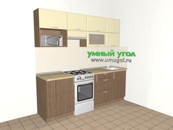 Прямая кухня МДФ матовый 5,0 м², 2200 мм, Ваниль / Лиственница бронзовая, верхние модули 720 мм, верхний витринный модуль под свч, отдельно стоящая плита