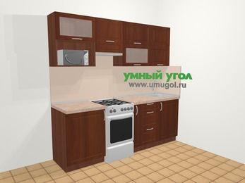 Прямая кухня МДФ матовый в классическом стиле 5,0 м², 220 см, Вишня темная, верхние модули 72 см, верхний модуль под свч, отдельно стоящая плита