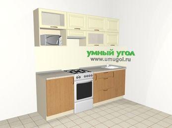 Прямая кухня из МДФ + ЛДСП 5,0 м², 2200 мм, Ваниль / Ольха, верхние модули 720 мм, верхний витринный модуль под свч, отдельно стоящая плита