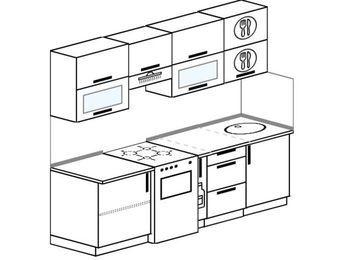 Прямая кухня 5,0 м² (2,2 м), верхние модули 720 мм, отдельно стоящая плита